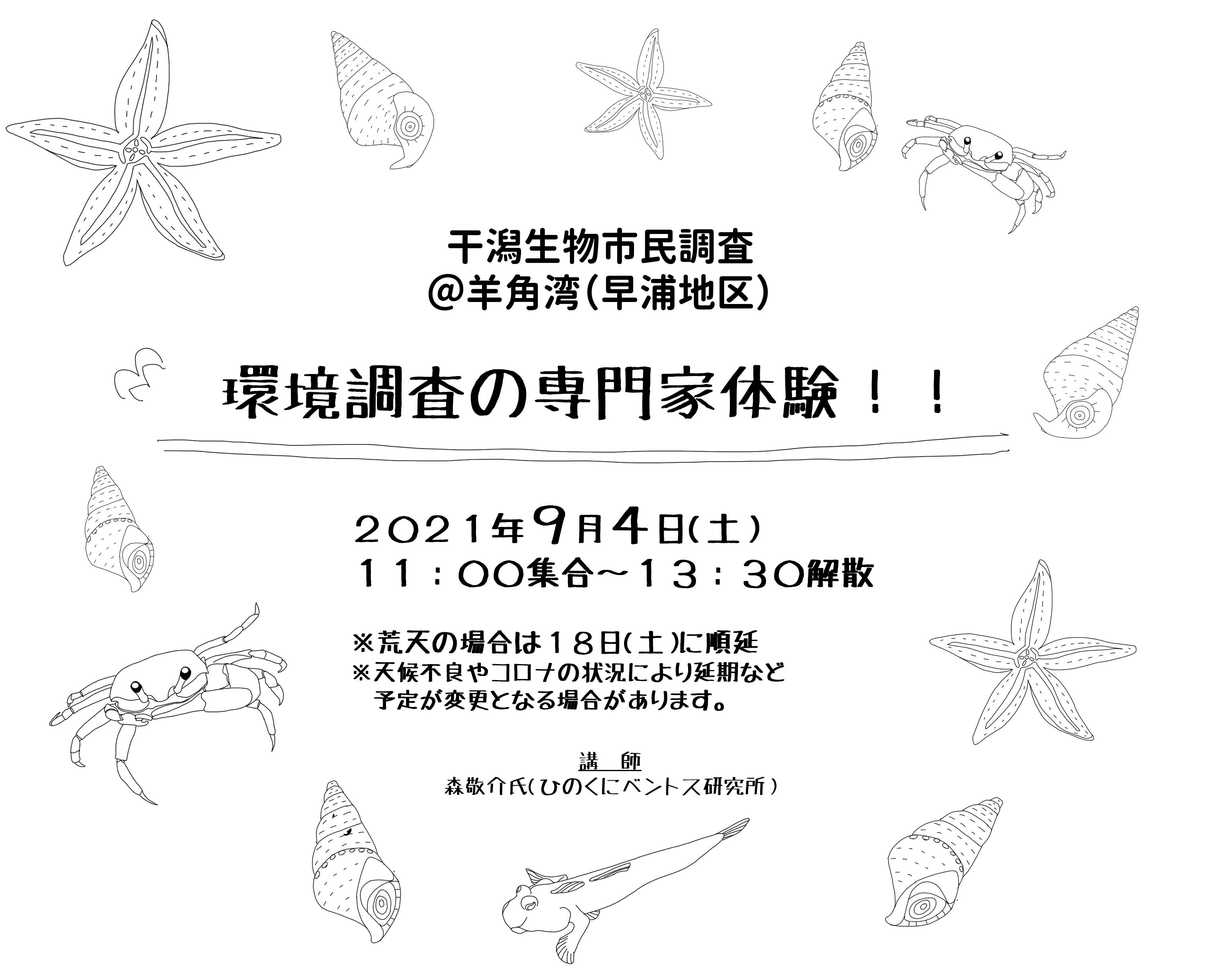 干潟生物調査@羊角湾(早浦地区)「環境調査の専門家になろう!!」